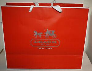 "Coach Large Red & White Logo Shopping Bag 12"" x 16"" x 6"" Cotton Handle"