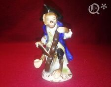 Antique Porcelain Monkey Figurine Playing the Cello