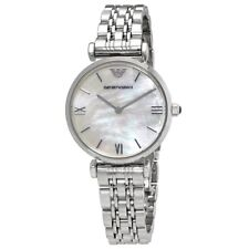 Emporio Armani Classic Silver White Mother of Pearl Quartz Women's Watch AR1682