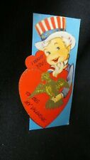 Vintage Uncle Sam & Eagle Valentine Card c. 1950s Unsigned