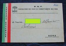 Card Tessera P.N.F Federazione Fasci Combattimento Urbe Adunata Generale Pomezia