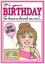 DRINKERS HAVE A DRINK JOKE GIFT TEA BAG FEMALE BIRTHDAY CARD FREE POST 1ST CLASS