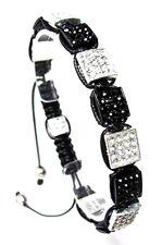 Shamballa Bracelet Silver Black Crystal Square Beads  #14