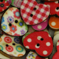 100 Shabby Chic Buttons - HEARTS - Wood - Scrapbooking - Crafting - Sewing - UK