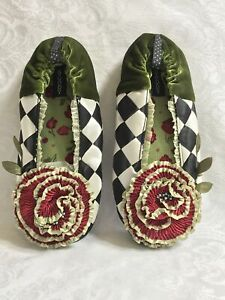 Mackenzie Childs Complements COURTLY Goody Goody SLIPPERS (Sz Medium) NEW m21-jn