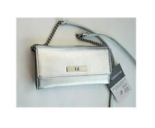 "New Liz Claiborne Textured Silver Phone Charging Crossbody Bag Purse 8""x4"" $50"