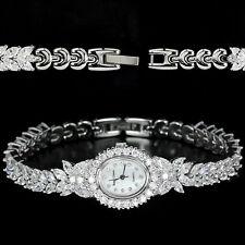 Edelstahl & Brass Uhr, Transparent Cubic Zirconia, Weißgold beschichtet, Neu
