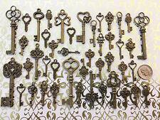 38 Brass Skeleton Keys Antique Vtg Style Wedding Heart Beads Lock Steampunk Ad2