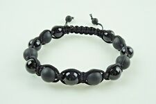 Mens Black Onyx Shamballa Bracelet - 10mm Matte & Polished Genuine Black Onyx