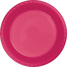 "20 ct. 7"" Plastic Plates Heavy Duty Solid Colors Disposable Appetizer Dessert"