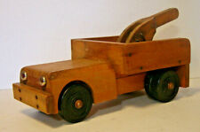 Vintage Solid Wood Toy Tow Truck Community Playthings Large Dual Rear Wheels Old