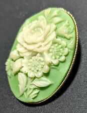 """Green Resin Cameo 70s Vintage Oval Pin Brooch 1.5"""""""