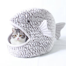 Cute Style Dog Bed Shark Cat Covered Cave House Washable with Removable Cushion