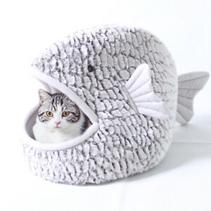 Cute Cat Igloo/Cave Bed Small Puppy Dog Bed Warm Fleece Sleep Mat Indoor Kennel