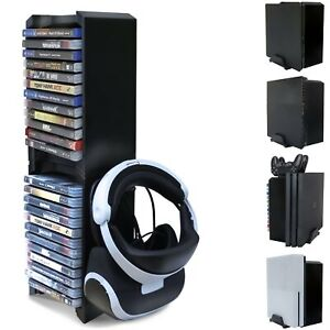 PS4 and Xbox One S Game Storage Tower Vertical Console Stand VR Glasses Holder