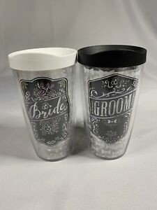 Bride And Groom Tervis Tumbler Cups - Hot or Cold 16oz with Lids