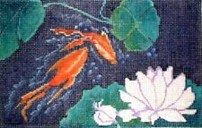 MZC Oriental Lilly Pads & Flowers Koi Fish HP Hand Painted Needlepoint Canvas