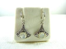 2.95 ct Natural Moonstone Sterling Silver Triquetra Celtic Knot Hook Earrings