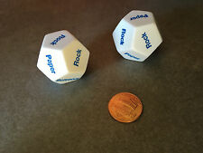 Set of 2 D12 12-Sided Rock, Paper, Scissors Game Dice - White with Blue Letters