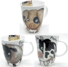 Roy Kirkham Please Shut The Gate Set of 3 Bone China Mugs Cow Pig Sheep Farm New