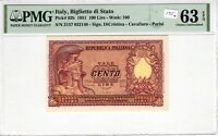 Italy 1951 100 Lire PMG Certified Banknote Choice UNC 63 EPQ Pick 92b