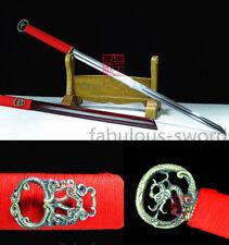 RED SAYA FULL TANG 1095 CARBON STEEL BLADE CHINESE HUAN SHUO 环首 SWORD