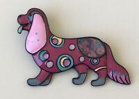 Vintage style artistic  dog brooch Pin enamel on metal