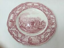 """Vintage Colonial Times by Crown Ducal Pink England Plate, 10 1/4"""" Diameter"""