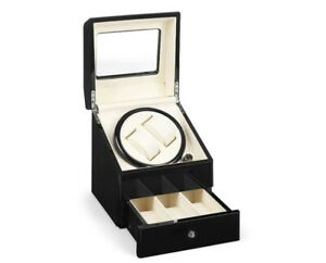REFURBISHED HIGH GLOSS DELUXE AUTOMATIC DOUBLE WATCH WINDER WITH DRAWER BLACK