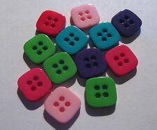 10 x SQUARE Assorted Colour Flat Back 4-Hole Buttons 10mm Wide (FC5D)
