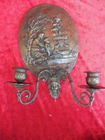 Beautiful, old Wall Lights, Bronze, Relief Picture, Original Nouveau