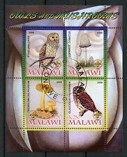 Malawi 2008 CTO Owls & Mushrooms Ural Owl 4v M/S Birds Fungi Stamps