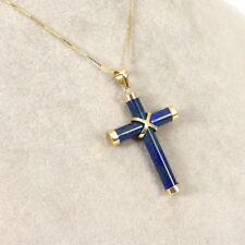 Wert 180 € Lapislazuli Kreuz Anhänger in 585er 14 K Gelbgold