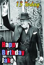 Winston Churchill Great Britain politics PERSONALISED Greeting Birthday ART Card
