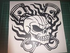 Skull Skeleton Piston 20x20CM Racing Flame Car Window Laptop Vinyl Decal Sticker