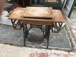 Singer 1939 Industrial Treadle Cast Iron Stand Legs Perfect Table Project