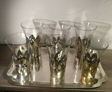 Vintage Set Silver Plated Sleeves Glass Inserts Matching Serving Tray Art Deco