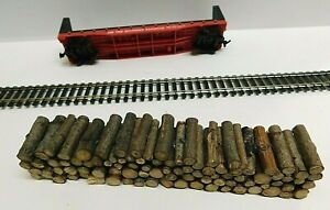 Natural Pulpwood Bulkhead Flatcar Load on a 50' Southern 4365 - HO / 1:87 Scale