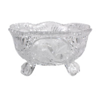Vintage Etched Bird Crystal Clear Glass Lead Footed Candy Bowl 7""