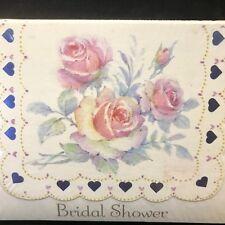 Vtg Die Cut Bridal Shower invitations, Shabby, Cottage Roses Blue Hearts NOS