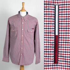 c7ce56a99d9 Vintage Camisa Tommy Hilfiger años 90 Cuadros en Rojo y Azul Casual  ondulados XL
