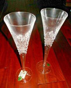 Waterford Crystal Bride And Groom Champagne Flutes Waterford wedding toast - NIB