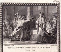 Gravure XVIIIe Scène Historique Procès Enguerrand de Marigny Philippe le Bel
