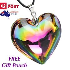Rainbow Multicolour Love Heart Crystal Glass Bead Pendant Necklace Women's Gift
