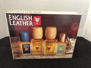 VINTAGE ENGLISH LEATHER GIFT SET  3 COLOGNES & AFTER SHAVE NIB PERFECT