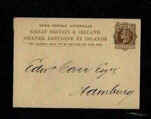 1881. QV 1d BROWN POSTAL STAT'Y CARD. 'LONDON' SQAURE CIRCLE. 'HAMBURG' ARRIVAL.