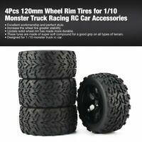 4Pcs 120mm Wheel Rim Tires for 1/10 Monster Truck Racing RC Car Accessories