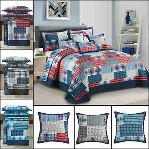 3PCs Patchwork Printed  Quilted Bedspread Bed Throw Comforter with Pillow Shams