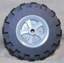 """K'Nex Wheels Gray Pulley Tire Insert & Black Tire 3 1/2"""" Replacement Parts"""
