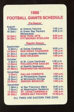 1986 1st Fidelity New York Giants NFL Pocket Schedule NRMT